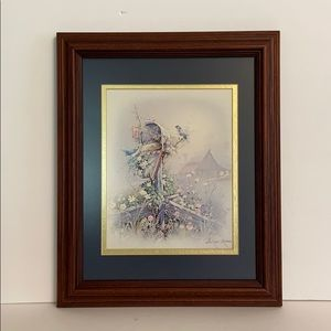 VINTAGE PRINT: OLD MAILBOX, BLUE BIRDS and FLOWERS